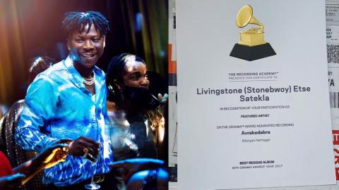 "Stonebwoy receives certificate of recognition from Grammy for being featured on Morgan Heritage's album, ""Avrakadabra"""
