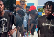 Tulenkey, Fameye & Quamina MP engage in birthday cake 'fight' on Watsup TV [Videos]