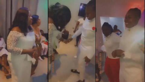 Bizarre: Two Ghanaian women get married at a private wedding ceremony