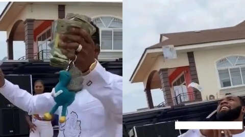 Obofour The Iron Boy: Watch How Rev. Obofour Makes Money Rain At The Naming Ceremony Of His Triplets