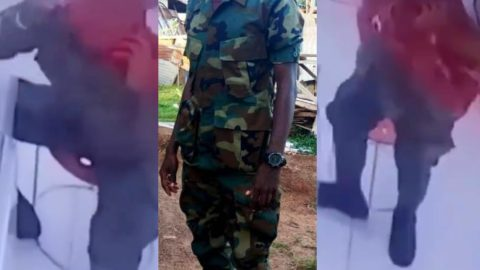 Video: Ghanaian Soldier Caught On Camera Stealing IPhone From Phone Shop