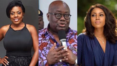 Nana Aba Anamoah, Yvonne Nelson, under fire for 'unnecessarily pressuring' Prez. Akufo-Addo to speak on the #EndSARS protest in Nigeria