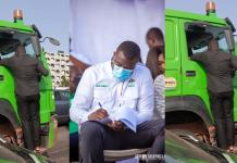 John Dumelo recklessly climbs onto a moving articulated truck to campaign