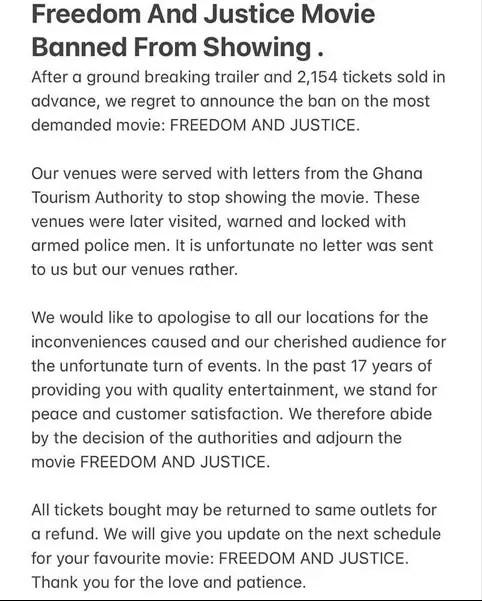 "Kobi Rana's ""Freedom and Justice"" movie banned"