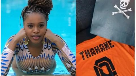 Actress Natasha Thabane Receives Jersey From Orlando Pirates