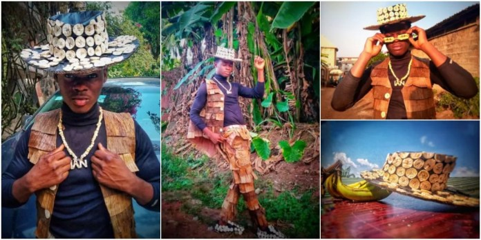 Young man makes fashionable jacket, hat and shoes with plantain and banana leaves [Photos]