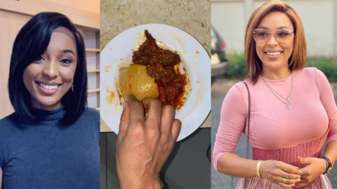 Nikki Samonas Gets People Talking As She Eats Fufu With Chicken Stew