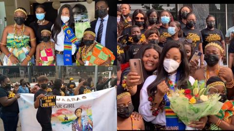Ghanaians troop in to welcome BBNaija's Erica to Ghana; arrival broadcast live on TV3 [Video + Photos]