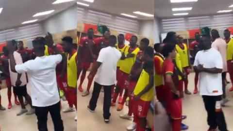 Rapper Sarkodie visits Kotoko players in their dressing room; motivates them ahead of their game against Aduana [Video]