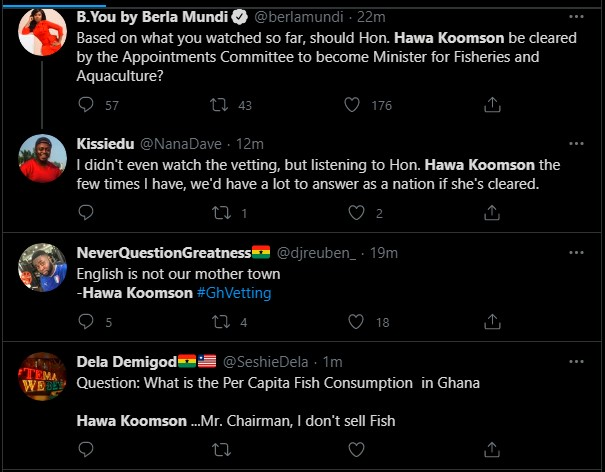 """Hot Video: Her English is so poor & she is unfit for the job"""" – Ghanaians troll Hawa Koomson for failing to define """"Fish Farming"""" during vetting 4"""