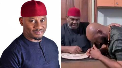 See The Moment Yul Edochie Kneels Before His Father As He Blesses Him- Video