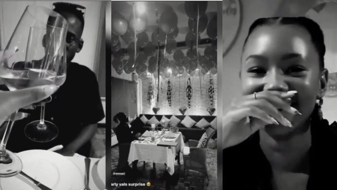 Singer Mr Eazi treats his billionaire girlfriend, Temi Otedola, to an early Valentine surprise [Video]