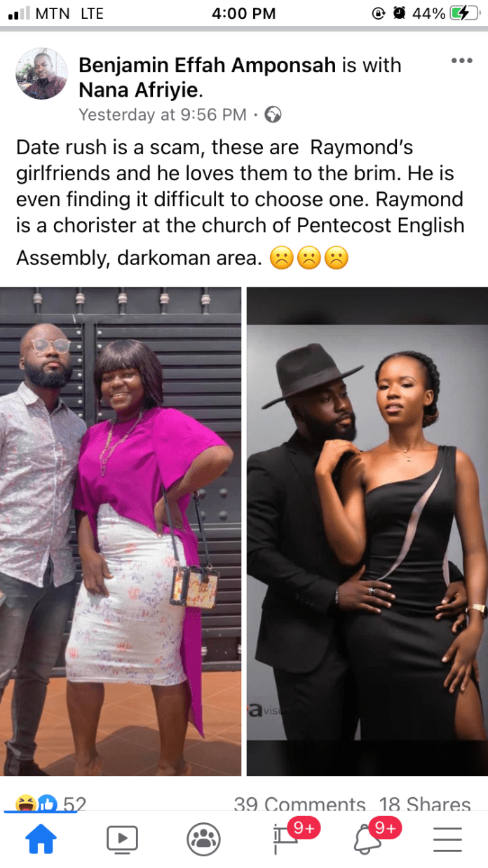 Date Rush is a scam, Raymond exposed to have two girlfriends by a guy who lives in his area (screenshot) 2