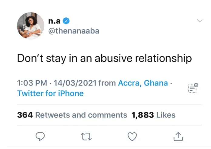 Don't stay in an abusive relationship – Nana Aba tells Ghana ladies 1