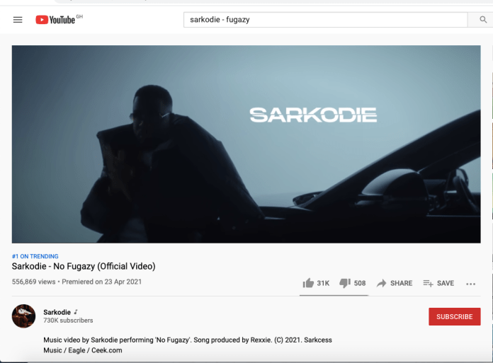 Sarkodie's 'No Fugazy' Song Is Struggling To Hit 600,000 On YouTube