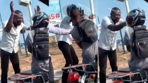 Accra: Pedestrian confronts motorbike rider for reportedly jumping traffic [Video]