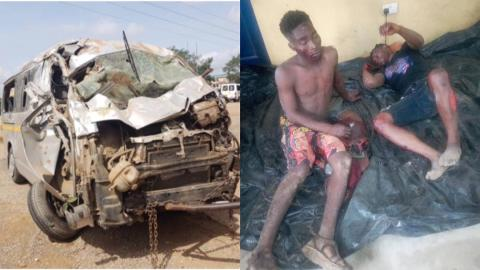 Sowutuom: Trotro driver knocks down two robbers on motorbike after they have robbed fruit seller