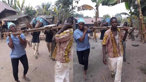 Ashanti Region: Sad moment as woman in labour is carried on wooden carrier by townfolks to faraway clinic due to lack of health facilities and good roads [Photos]