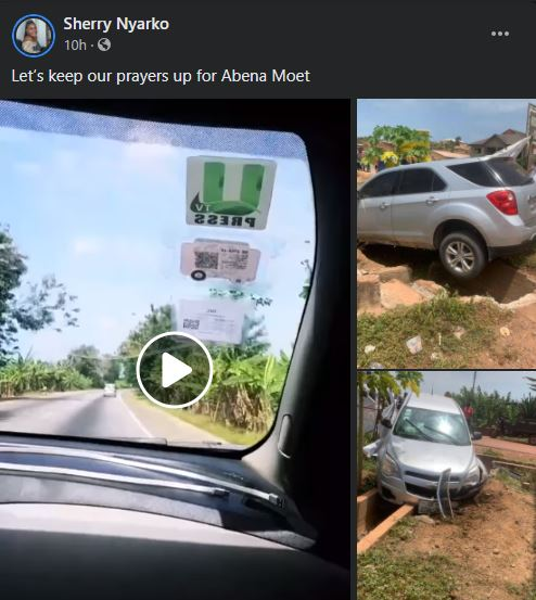 Newly wedded Abena Moet survives ghastly accident; video and photos from the accident drops 2