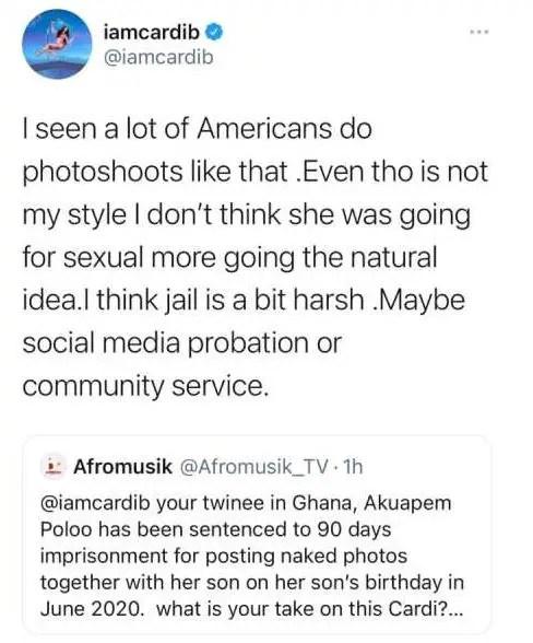 Cardi B reacts to Akuapem Poloo's 90-day jail sentence. 48