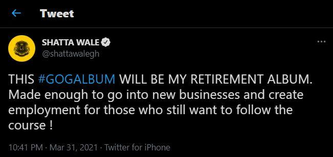 I will retire from music after my GOG album - Shatta Wale