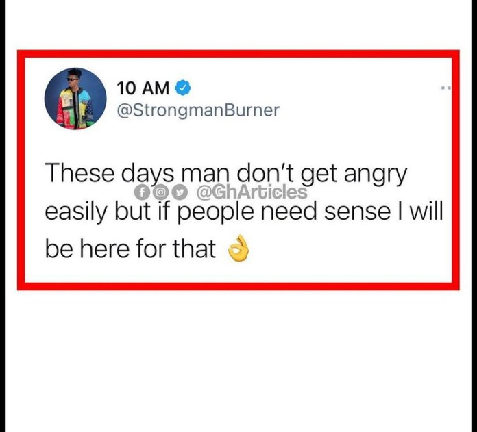 Strongman Takes Action On A Troll For Claiming Sarkodie Saved Him From Selling Nose Masks
