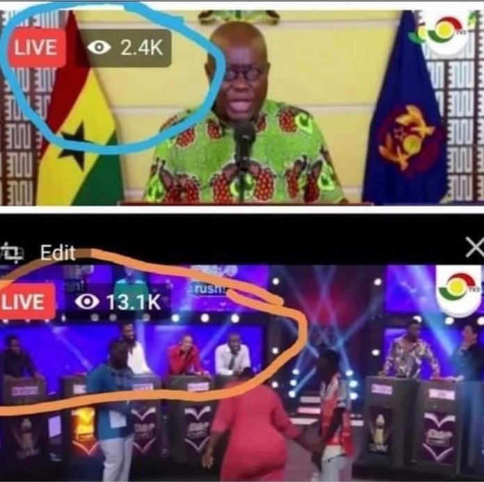 Ghanaians ignore Akufoo-Addo as numbers prove Ghanaians prefer watching Date Rush to listening to President's address