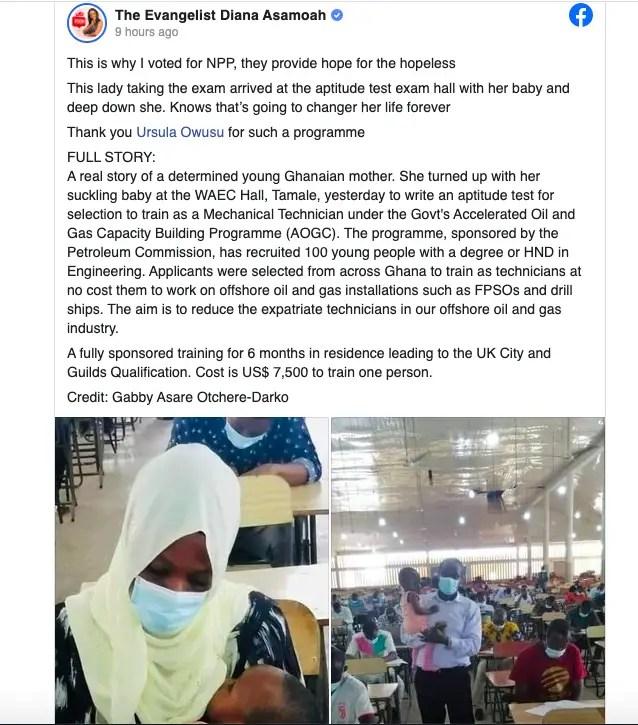 Evangelist Diana Asamoah voted for NPP