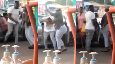 """Yawa: """"Get out of my boyfriend's car"""" – Lady orders side chic as she removes her artificial hair and creates a dramatic scene [Video]"""