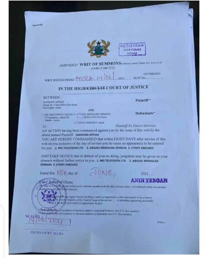 Diamond Appiah Sues Mona Gucci And Media General (Onua TV) 1