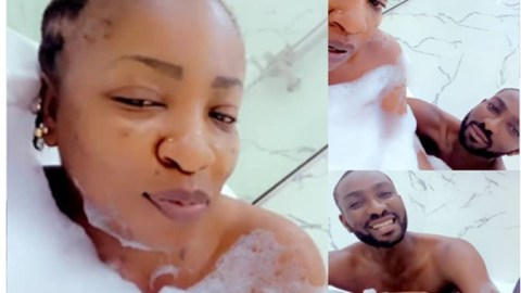Actress, Anita Joseph breaks the internet as she shares intimate moment of her bathing with her husband (Video)