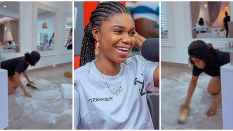 Becca seen scrubbing her office as she channels her energy into her spa business and probably snub music (Watch)