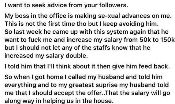 'How my husband asked me to sleep with my boss so my salary would be increased from ₵720 to ₵2,200' – Lady shares dilemma