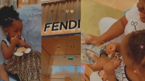 East Legon landlady, Tracey Boakye blows cash at Fendi shop in Dubai for her daughter Nhyira (+Video)