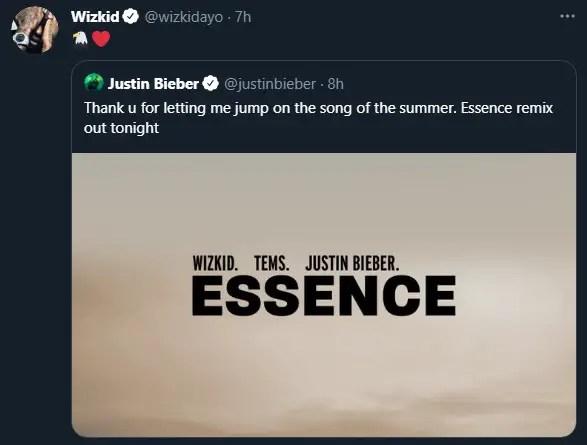 Wizkid reacts to Justin Bieber