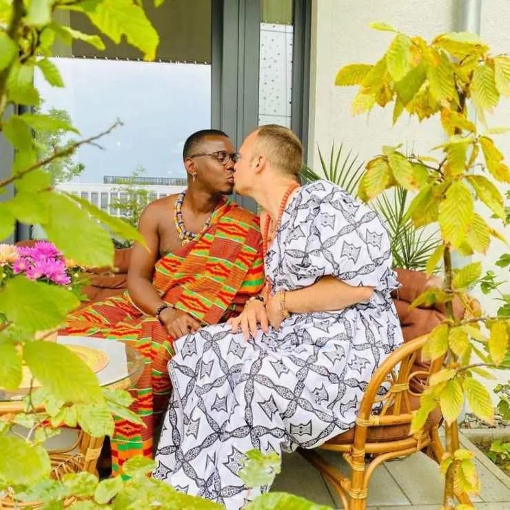 Love is sweet, anaaa? Ghanaian man looks dapper in Kente cloth as he gets married to his UK gay partner (Photos)