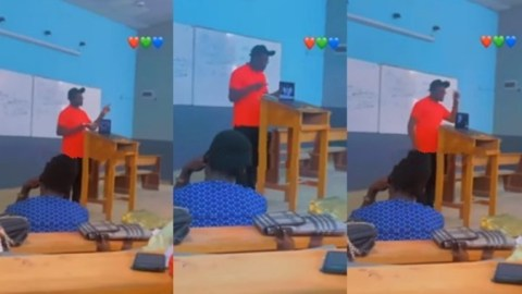 Gangster lecturer: See the moment university lecturer brings music speaker to class, uses rap song to teach students (Video)