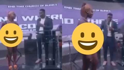 (+VIDEO) Shocking as ladies flaunts hot body and bikini gives testimony in church