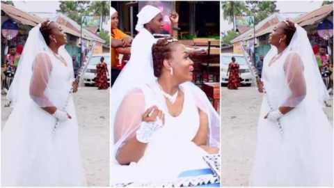 I have money, lady says as she hits the streets in wedding gown to look for a husband (Watch)