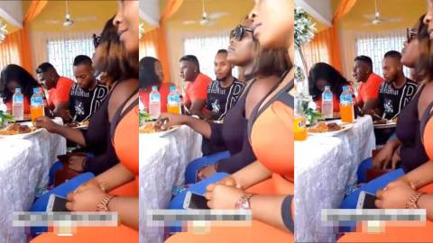 (+VIDEO) Watch the moment slay queen swiftly stole meat at a wedding reception