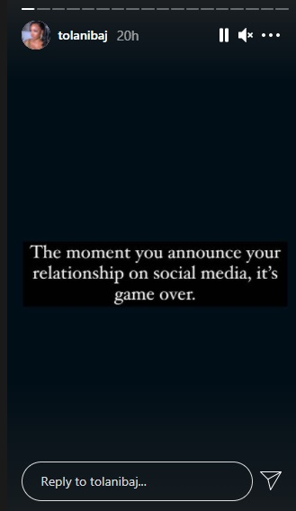 It's game over once you announce your relationship on social media - Tolanibaj