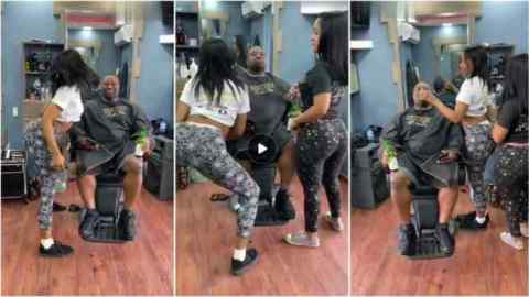 Best barber shop in the world? Meet barber shop where hot ladies shake their goodies to entertain male customers (Watch)