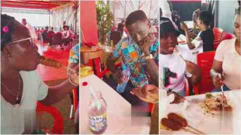 Man who probably earns ₵500 a month lost in thought as the lady he invited on a date brought her friends to finish him up (Watch)