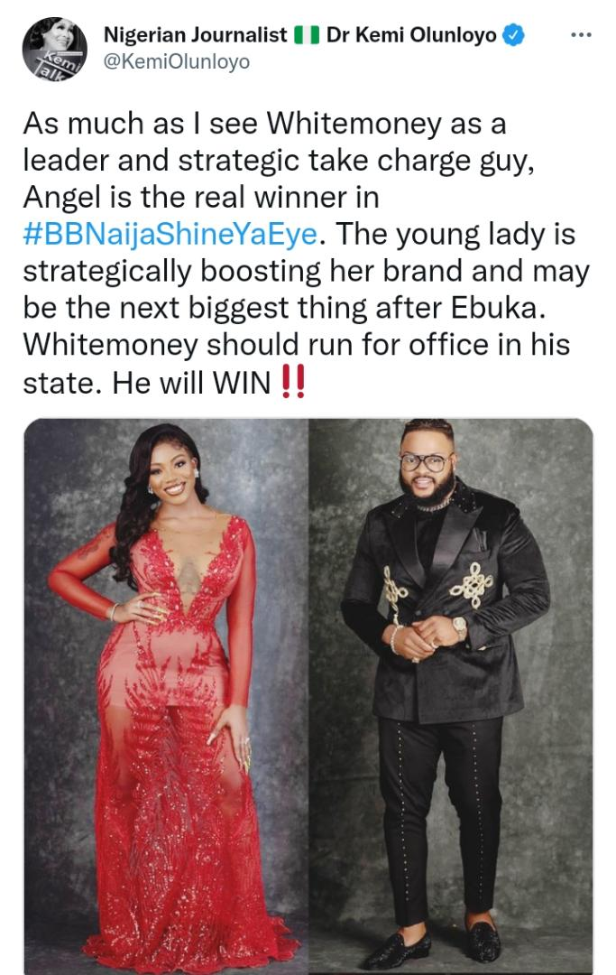 Kemi Olunloyo Advices BBNaija's Whitemoney To Run For Office In His State, Claims He Will Win