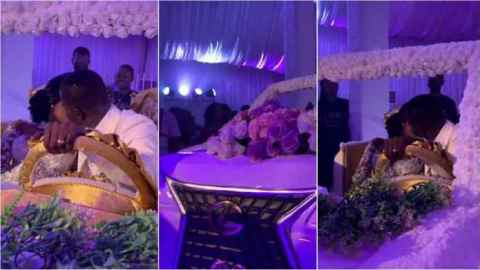 Ghanaian couple set record with biggest-ever wedding cake shaped like V8 car (Watch)