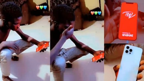 Young man almost loses his mind after he bought a fake iPhone 12 only to realize it's Itel (Watch)