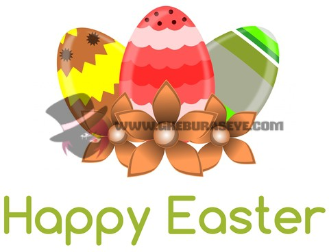 Easter greeting card with eggs isolated