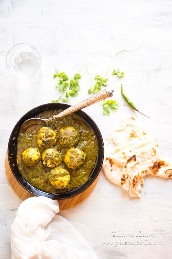 Chicken Laziz Kofta / Chicken Kofta in Green Sauce