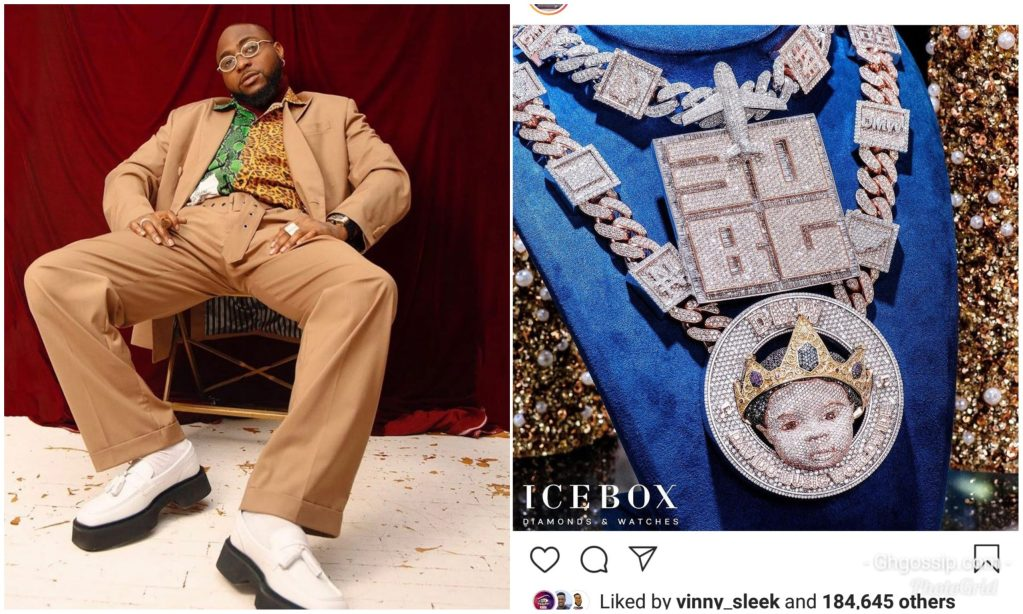 Davido Flaunts N150million Diamond Encrusted Necklace