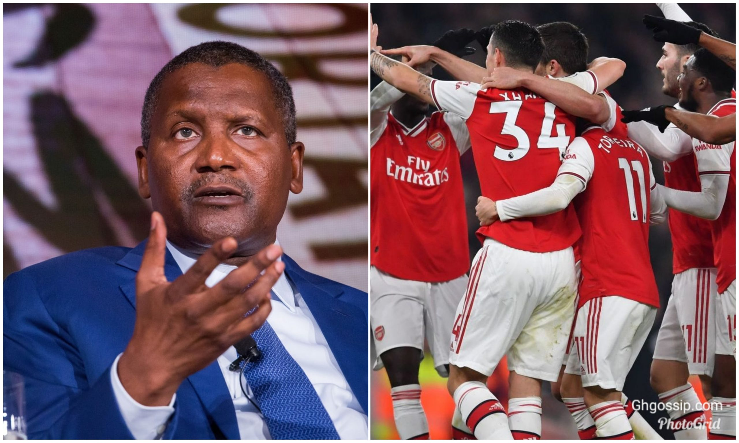 Billionaire Aliko Dangote again declares plans to buy Arsenal